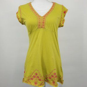 BCBG Chartreuse & Pink Boho Embroidered Top
